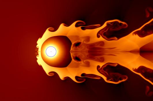 Simulation of a 20pc supernova blast wave pushing back solar wind.